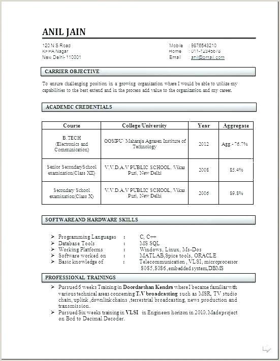 Freshers Resume Format For Commerce Resume Format Fresher – Englishor