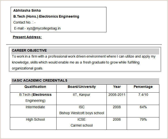 Freshers Resume format for Electronics Engineers Resume Sample for Electronics Engineer Fresher the