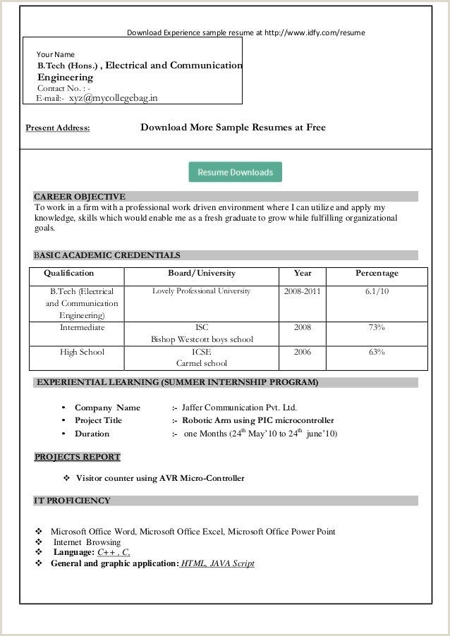 Freshers Resume format for Engineers Free Download Pin On B I S E Kohat Kpk