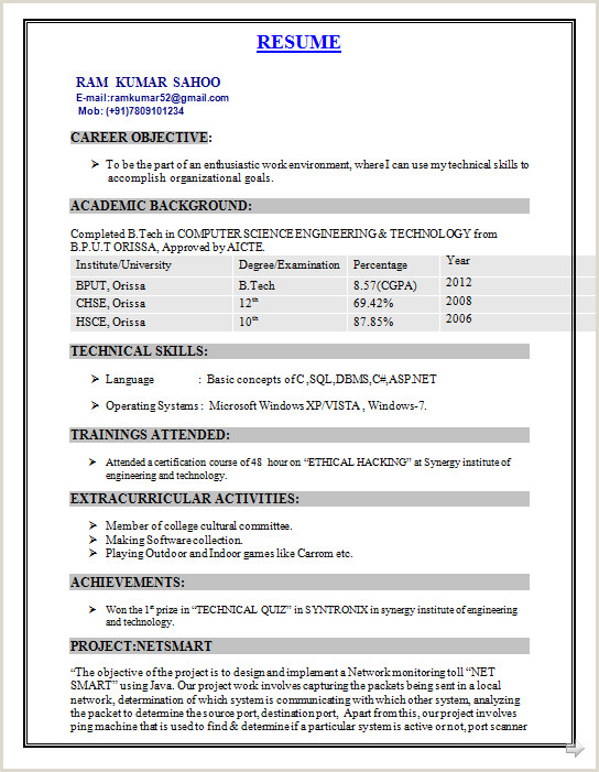 Freshers Resume Format For Software Jobs B Tech Rohit Pant