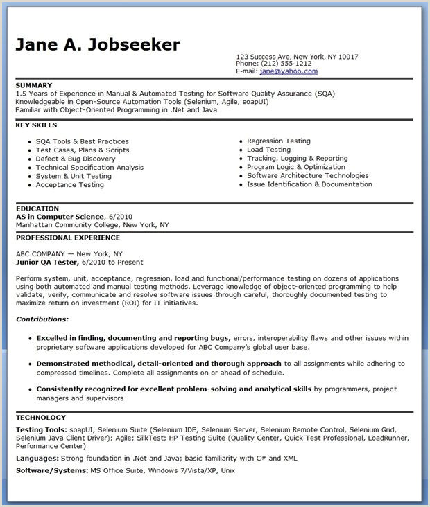 Freshers Resume Format For Software Jobs Resume Format For 6 Months Experienced Software Engineer