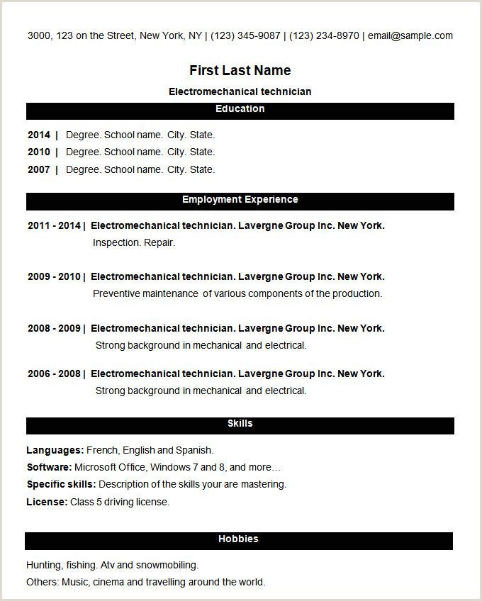 Freshers Resume Format Images 70 Basic Resume Templates Pdf Doc Psd