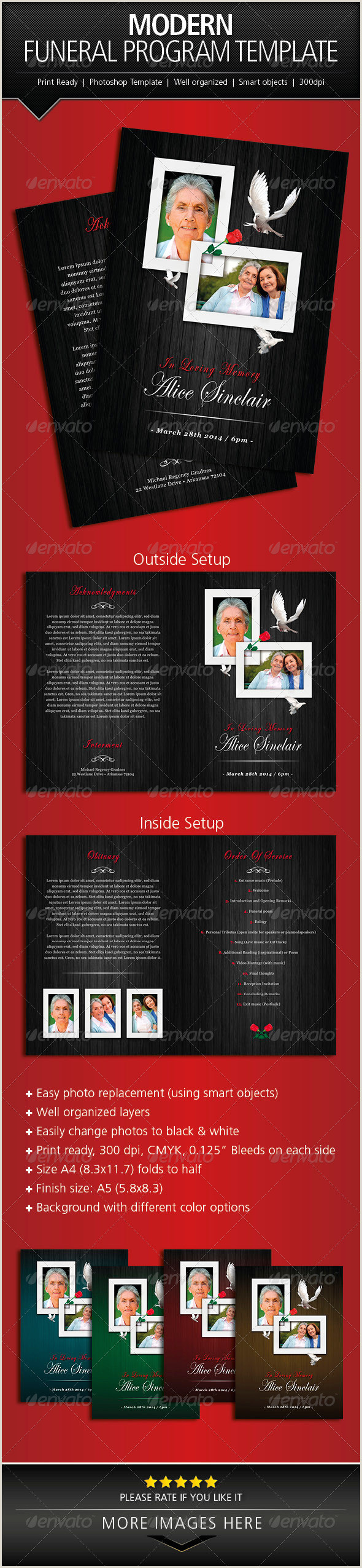 Funeral Program Template Indesign Funeral Programs Template Free Graphics Designs & Templates
