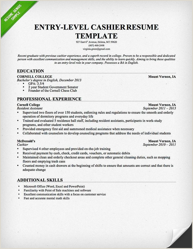 Entry Level Cashier Resume Template For Download