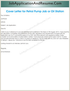 Job Application for Oil Station or Petrol Pump