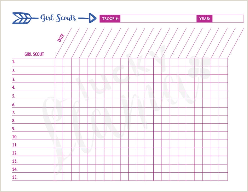 Printable Girl Scout Attendance Sheet