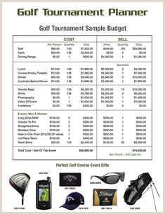 Golf tournament Budget Template 26 Best Golf tournament Ideas Golf Prizes Accessories and