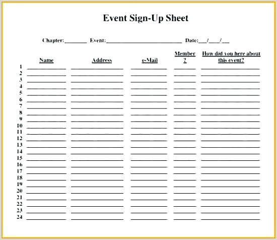 Event Volunteer Sign In Printable Sheet Up Template Google
