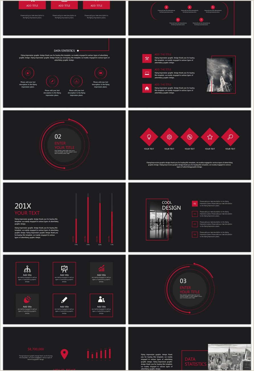 Awesome red and black brief business report ppt template for