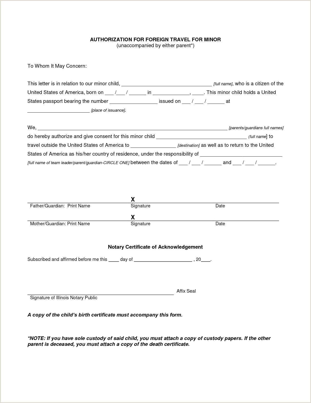 authorization letter for child travel with grandparents
