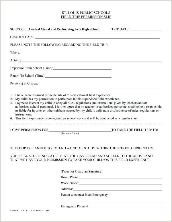 Field Trip Permission Slip Letter To Parents Template