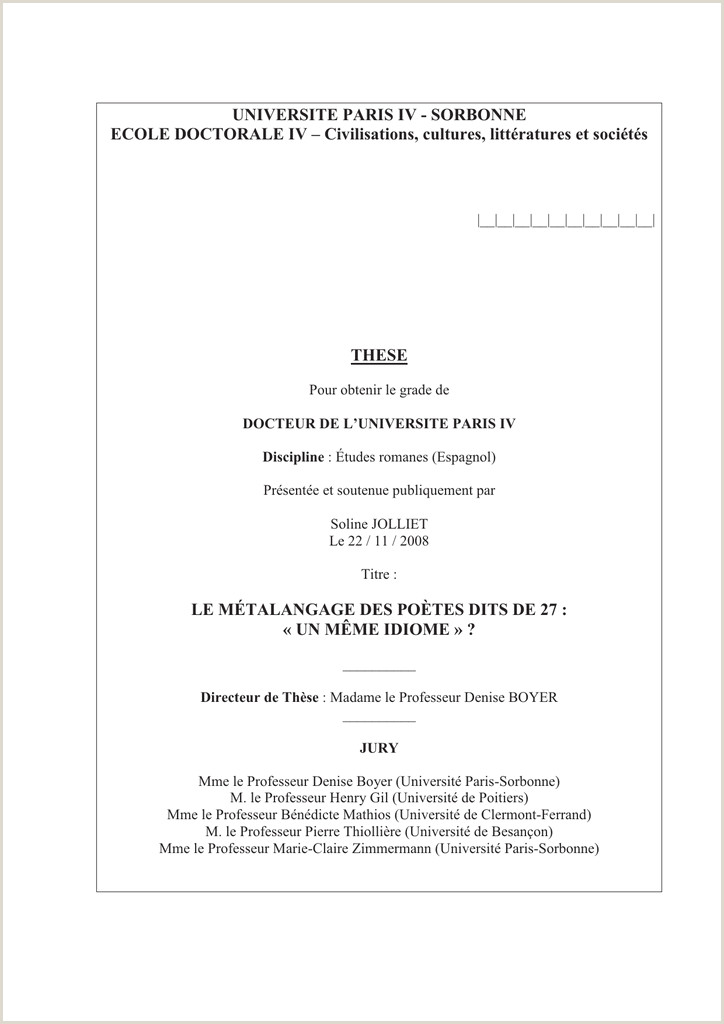 UNIVERSITE PARIS IV Université Paris