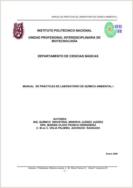 Hacer Una Hoja De Vida Minerva Manual De Prácticas De Laboratorio De Qumica Ambiental I