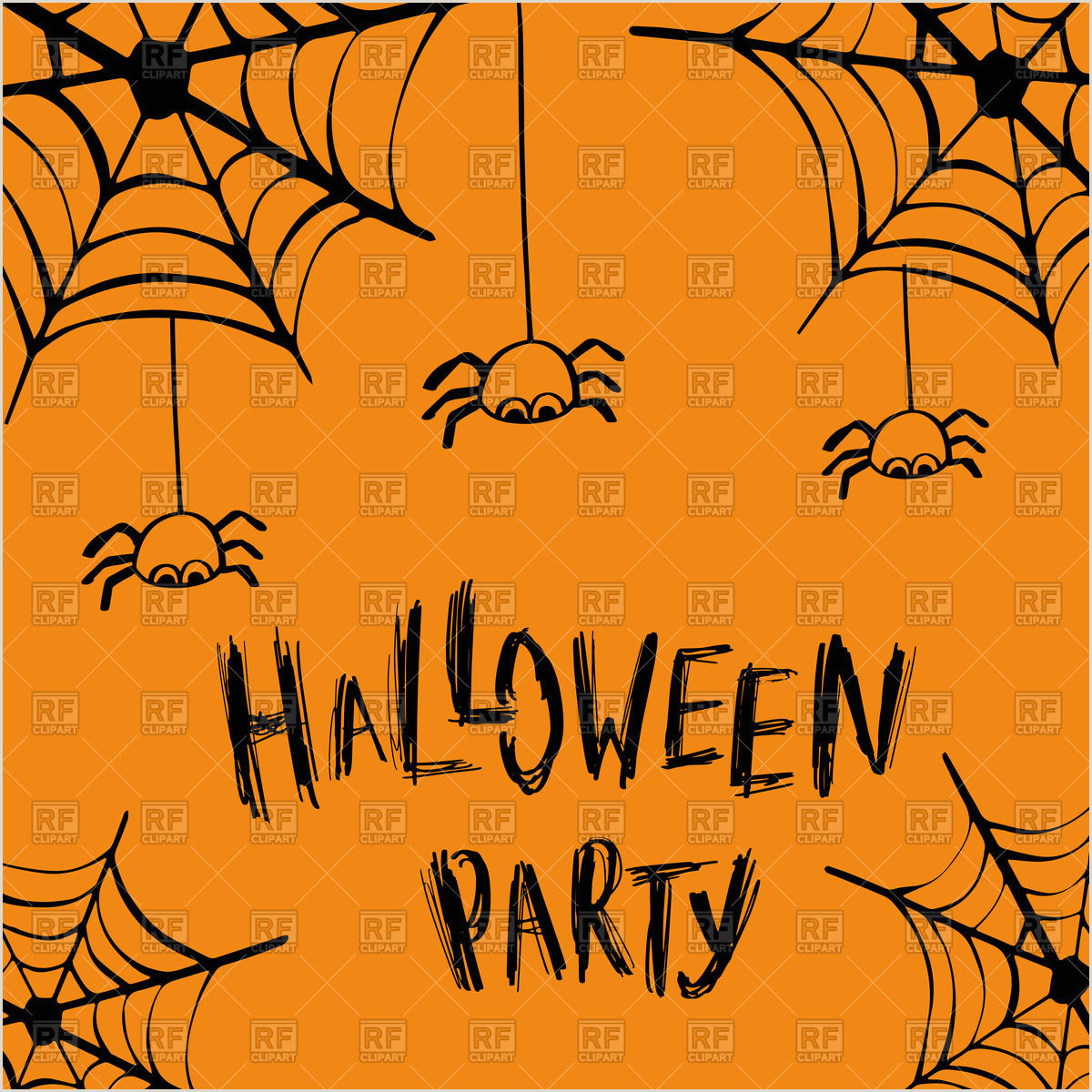 Halloween party invitation card with spiders Stock Vector Image
