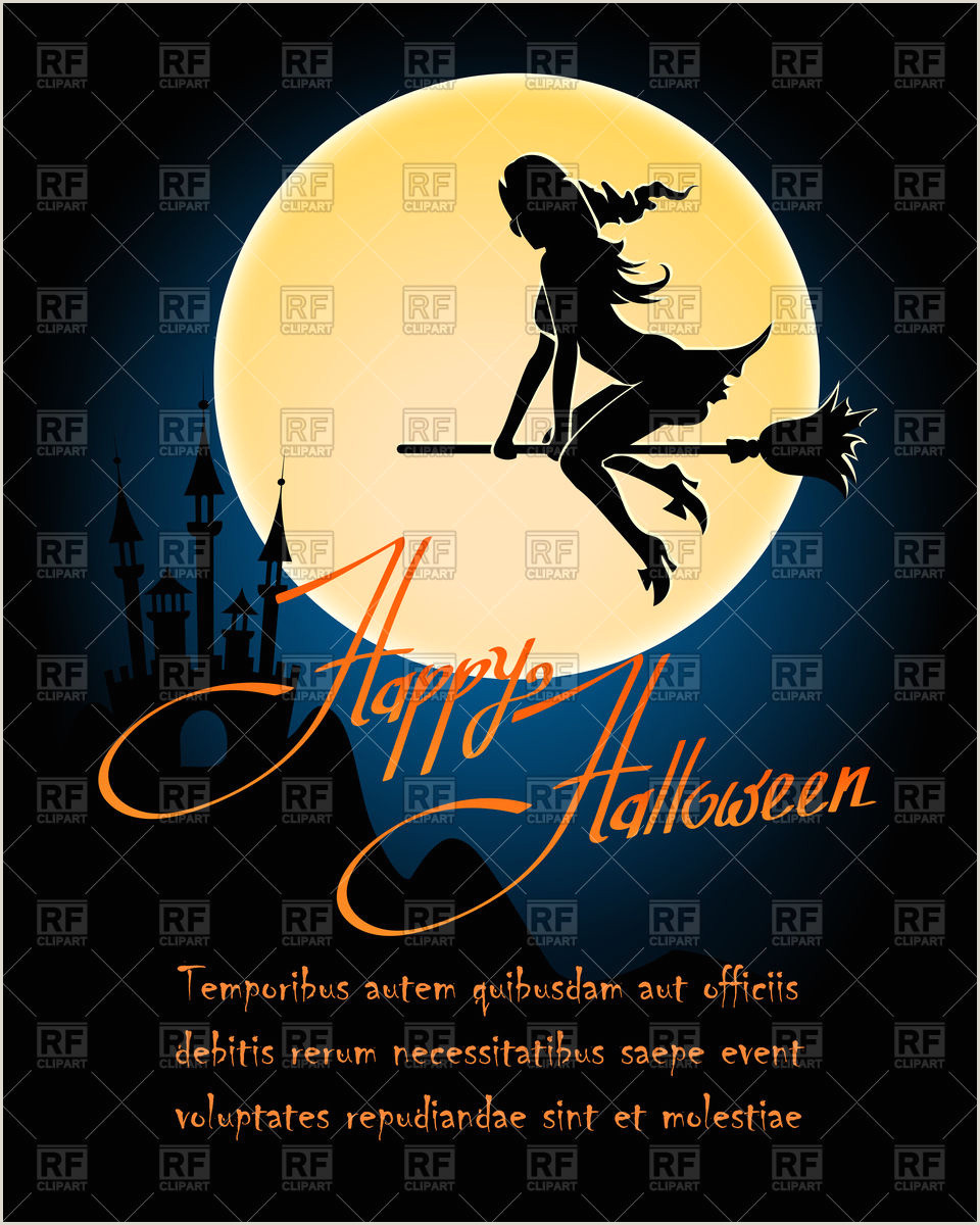 Happy Halloween poster with witch flying on broom over dark castle and moon Stock Vector Image