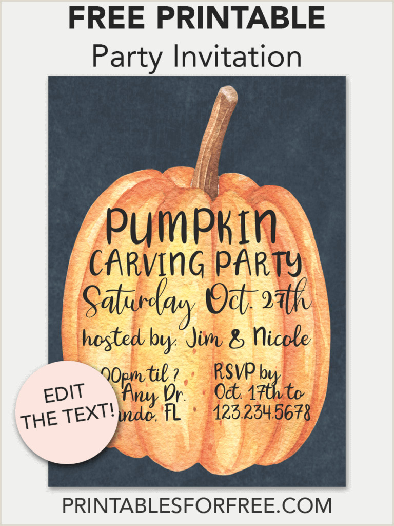 Halloween Invitations Templates Midnight Pumpkin Printable Invitation