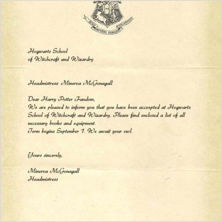 Harry Potter Invitation Letter Template or Shocking Hogwarts