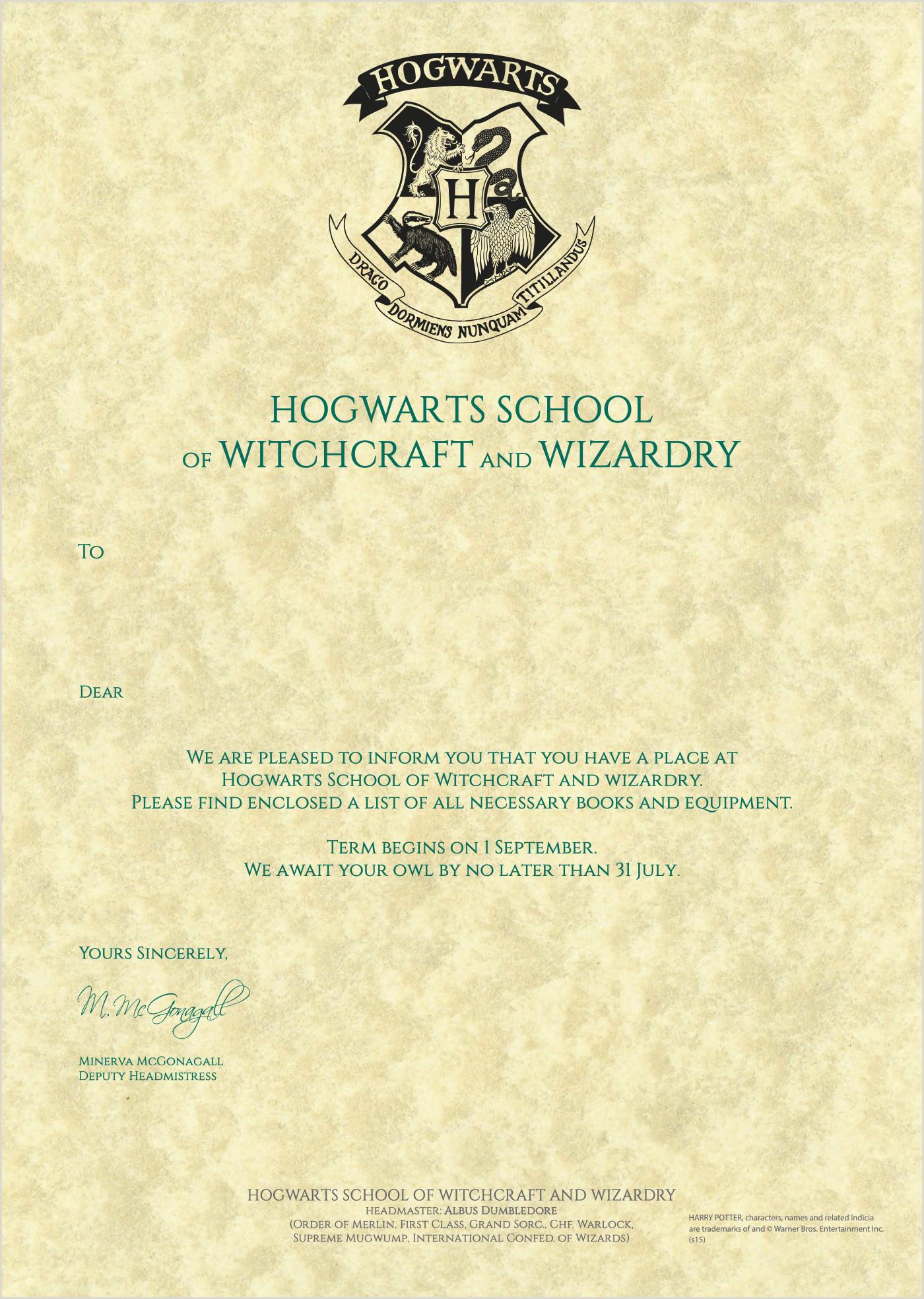 Printable Hogwarts Acceptance Letter Sample Harry Potter