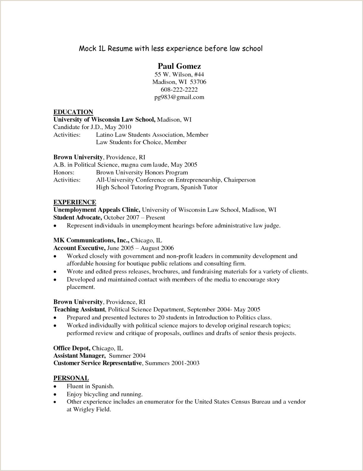 Student Resume Template Word Examples Sample Legal Resume