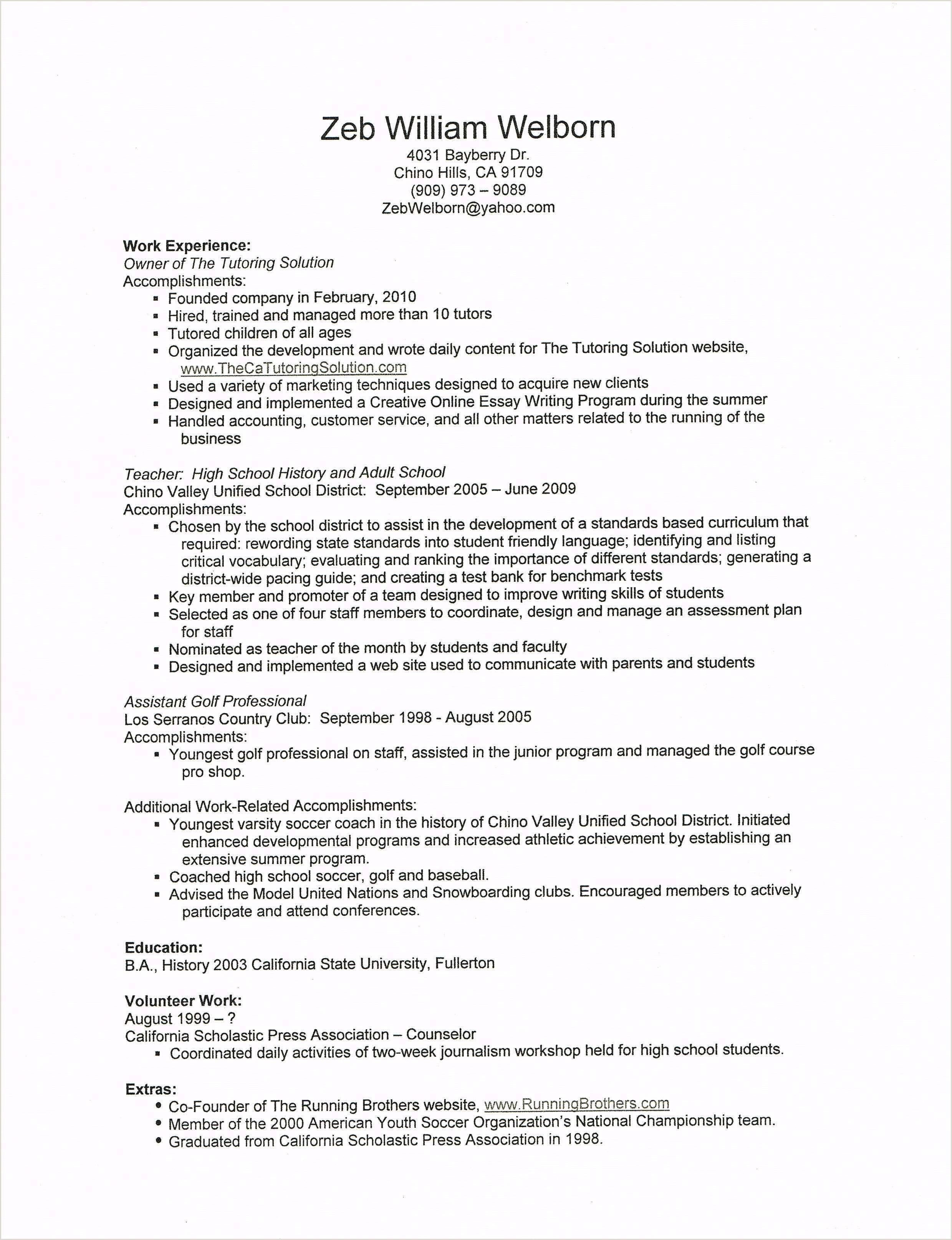High School Accomplishments Resume Math Tutor Job Description Resume