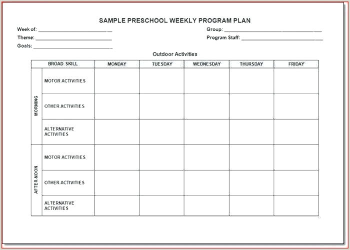 preschool curriculum planning template