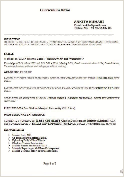 Resume Model format Sample Location 2 Cv Model Cv format