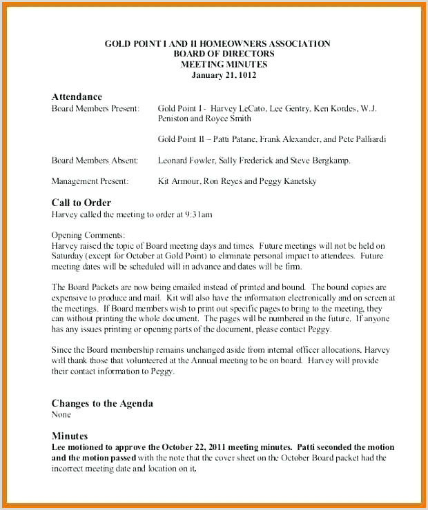 Template For Board Meeting Minutes In Out Free Hoa Example