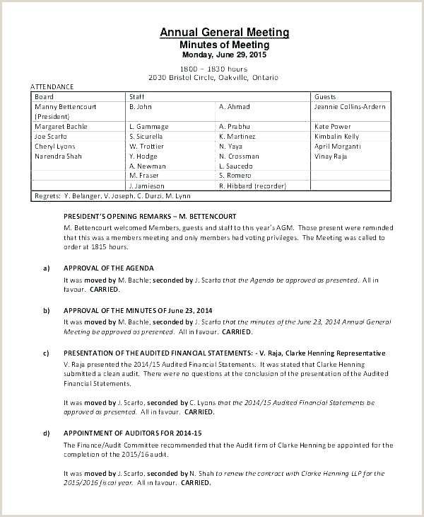 Hoa Proxy form Template Meeting Minutes Template Latter Example Annual Agenda