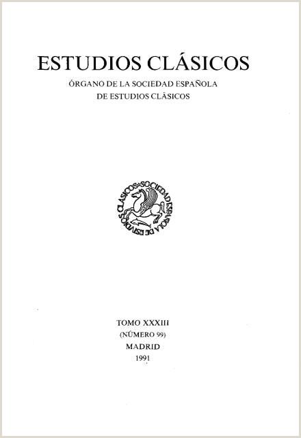 Hoja De Vida Estilo Minerva 99 1991 sociedad Espaƒ±ola De Estudios Clƒ¡sicos