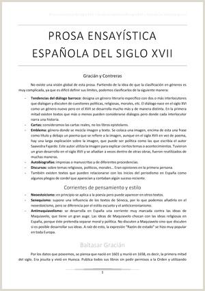 Prosa ensaystica del siglo XVII Gracián y Contreras StuDocu