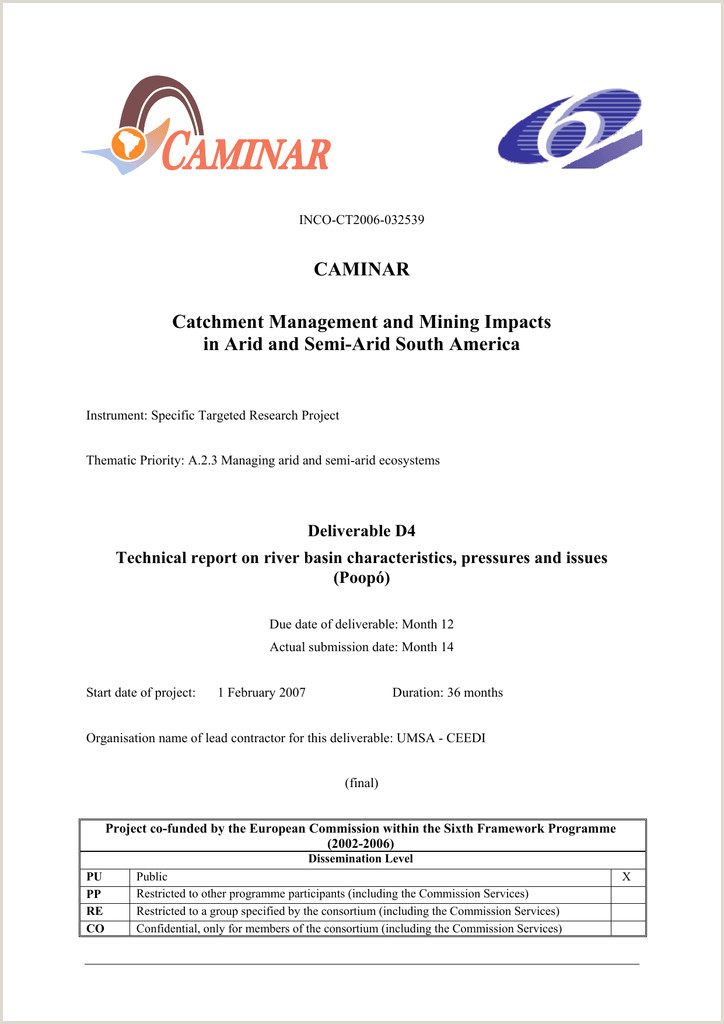 CAMINAR D4 TECHNICAL REPORT ON RIVER BASIN CHARACTERISTICS