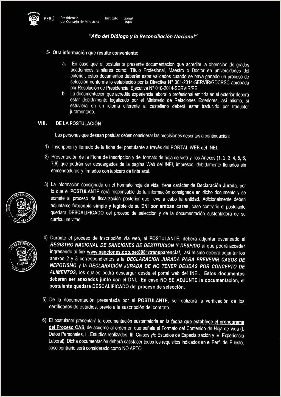 Hoja De Vida formato Unico Declaracion Juramentada Instituto Nacional De Estadstica E Informtica Bases Pdf