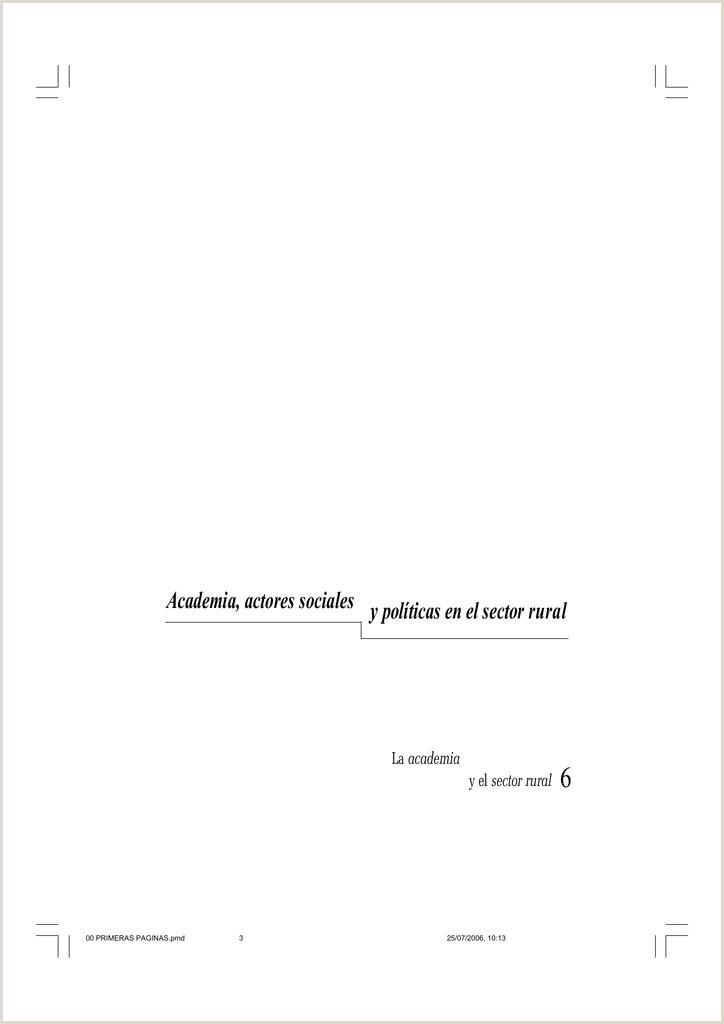 Academia actores sociales y polticas en el sector rural