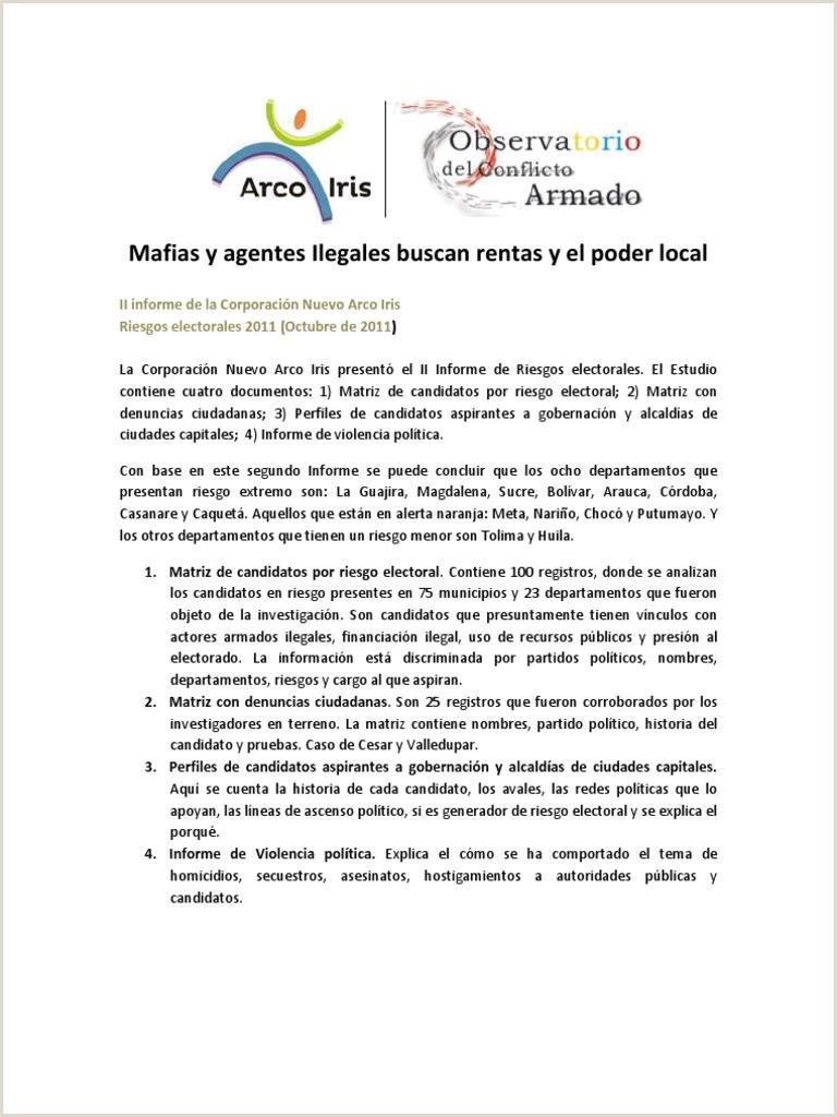 Hoja De Vida formato Unico Gobernacion Del Valle Del Cauca Segundo Informe Elecciones 2011