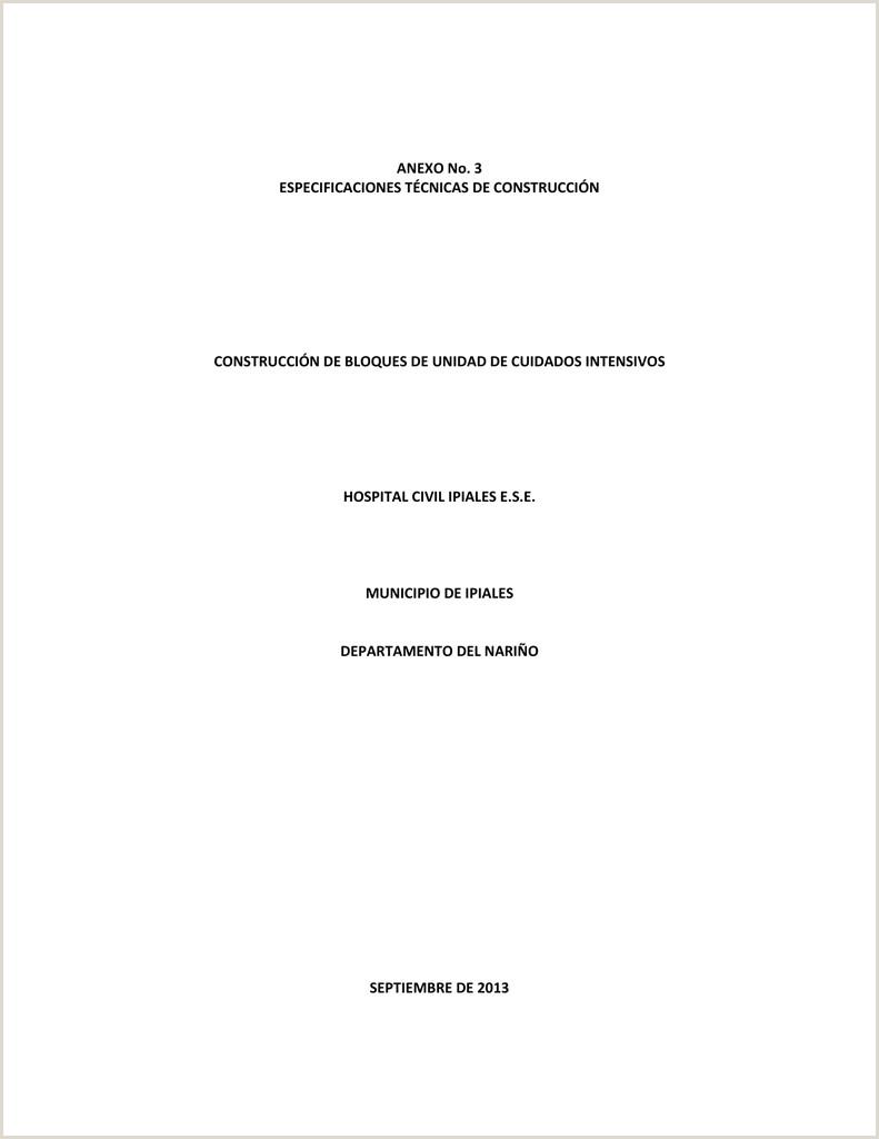 especificaciones técnicas Hospital Civil de Ipiales E S E