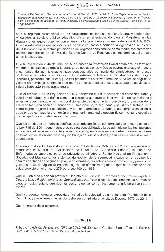 Hoja De Vida formato Unico Ministerio De Educacion Dec 1655 Sg Sst Magisterio