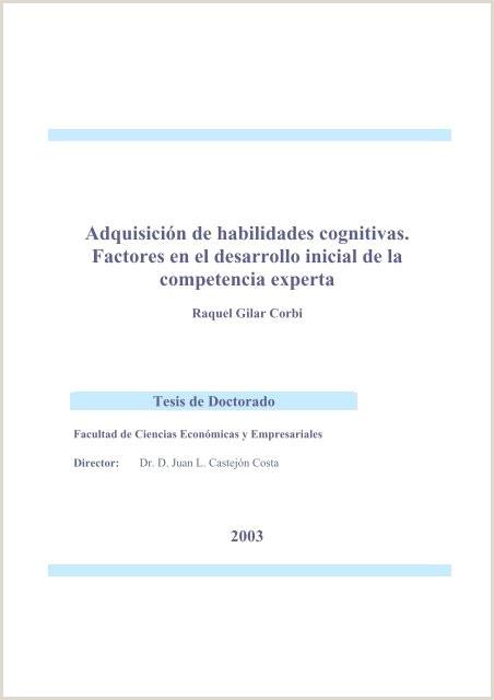 Hoja De Vida formato Unico Modificable Adquisici³n De Habilidades Cognitivas Factores En El