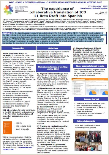 Poster The experience of collaborative translation of ICD