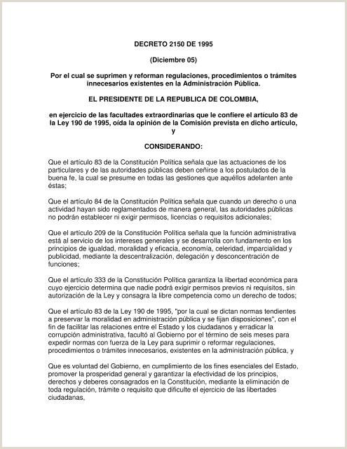Hoja De Vida formato Unico Y Declaracion Juramentada De Bienes Y Rentas Decreto 2150 De 1995 Diciembre 05 Por El Cual Se Suprimen