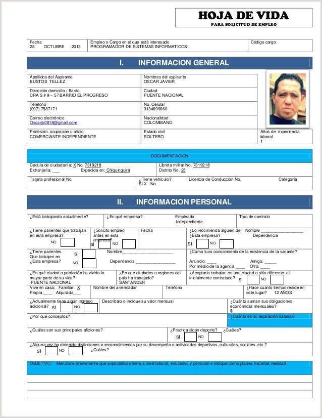 Hoja De Vida Minerva 1003 Azul Pdf solicitud De Empleo Para Llenar