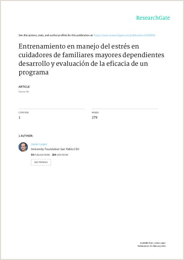 PDF Entrenamiento en manejo del estrés en cuidadores de