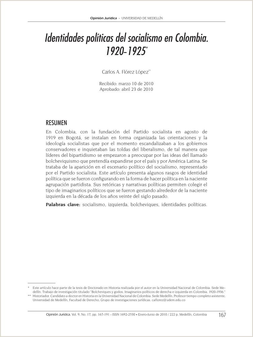 PDF Identidades polticas del socialismo en Colombia 1920 1925