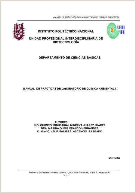 manual de prácticas de laboratorio de qu­mica ambiental i