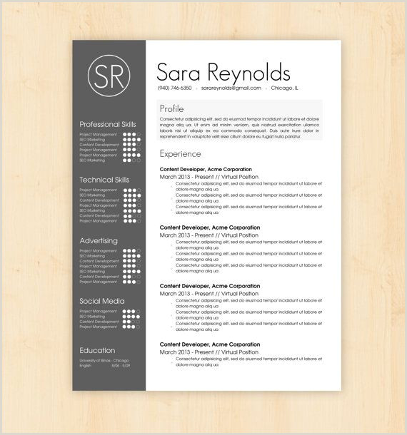 Resume Template CV Template The Sara Reynolds Resume
