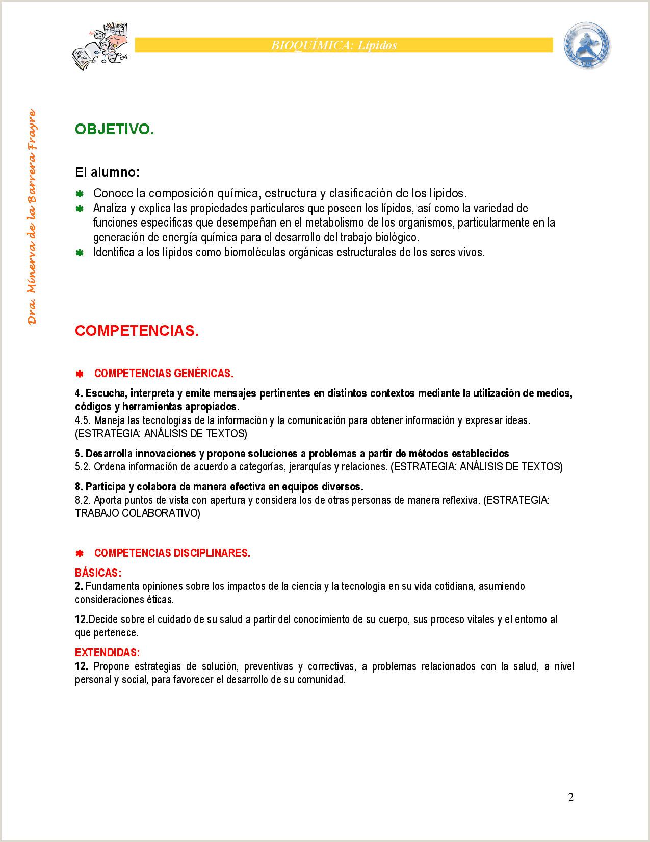 Hoja De Vida Minerva Ejemplos Bioqumica De Lpidos Docsity