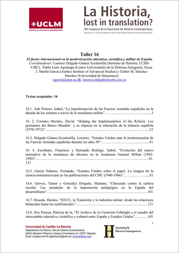 Taller 16 Asociaci³n de Historia Contemporánea