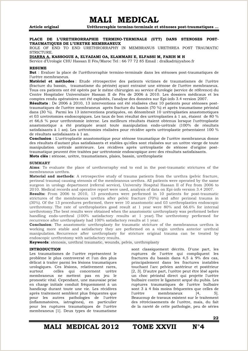 PDF PLACE DE L URETHRORRAPHIE TERMINO TERMINALE UTT DANS