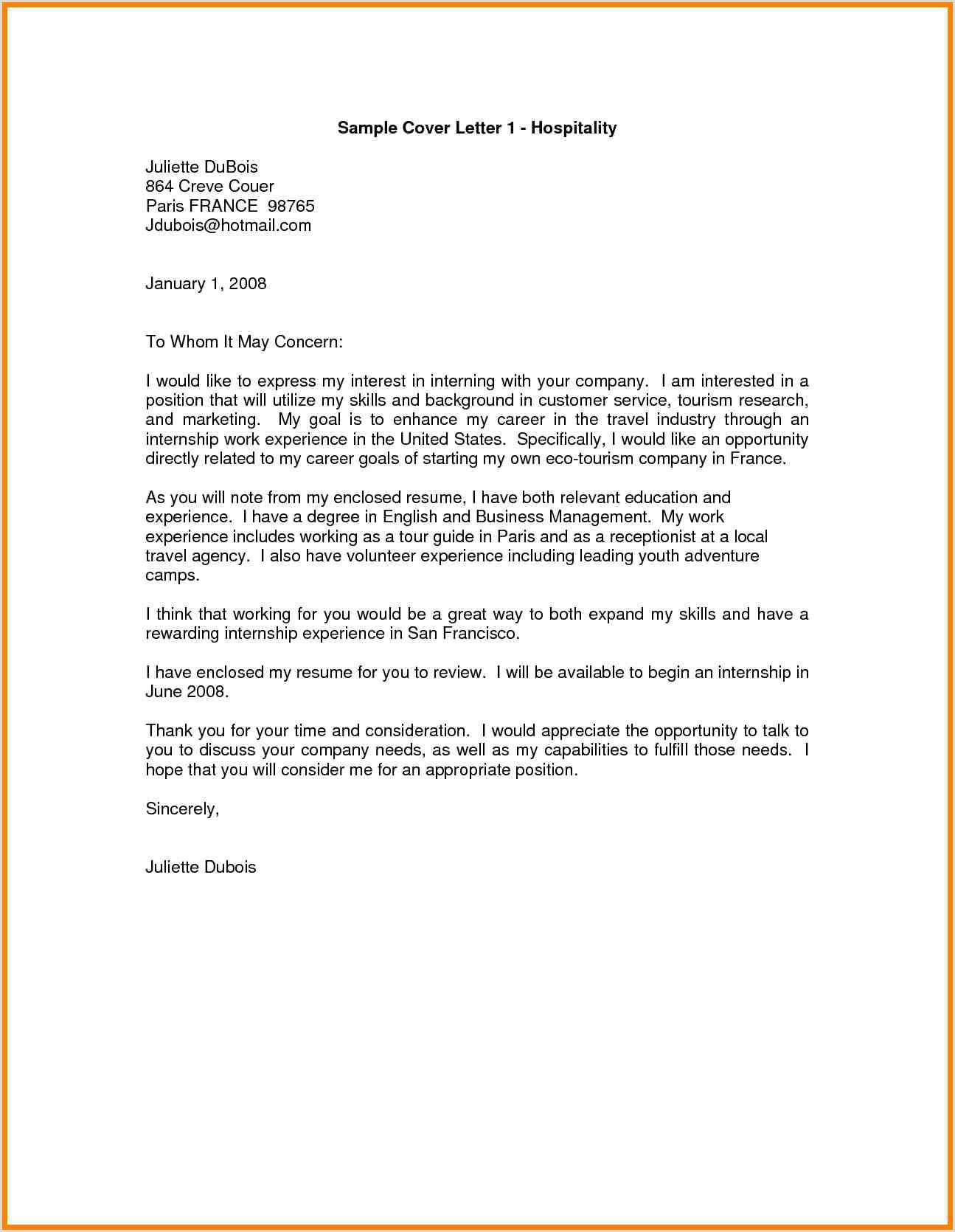 Hotel Cover Letter 8 9 Covering Letter for Hospitality