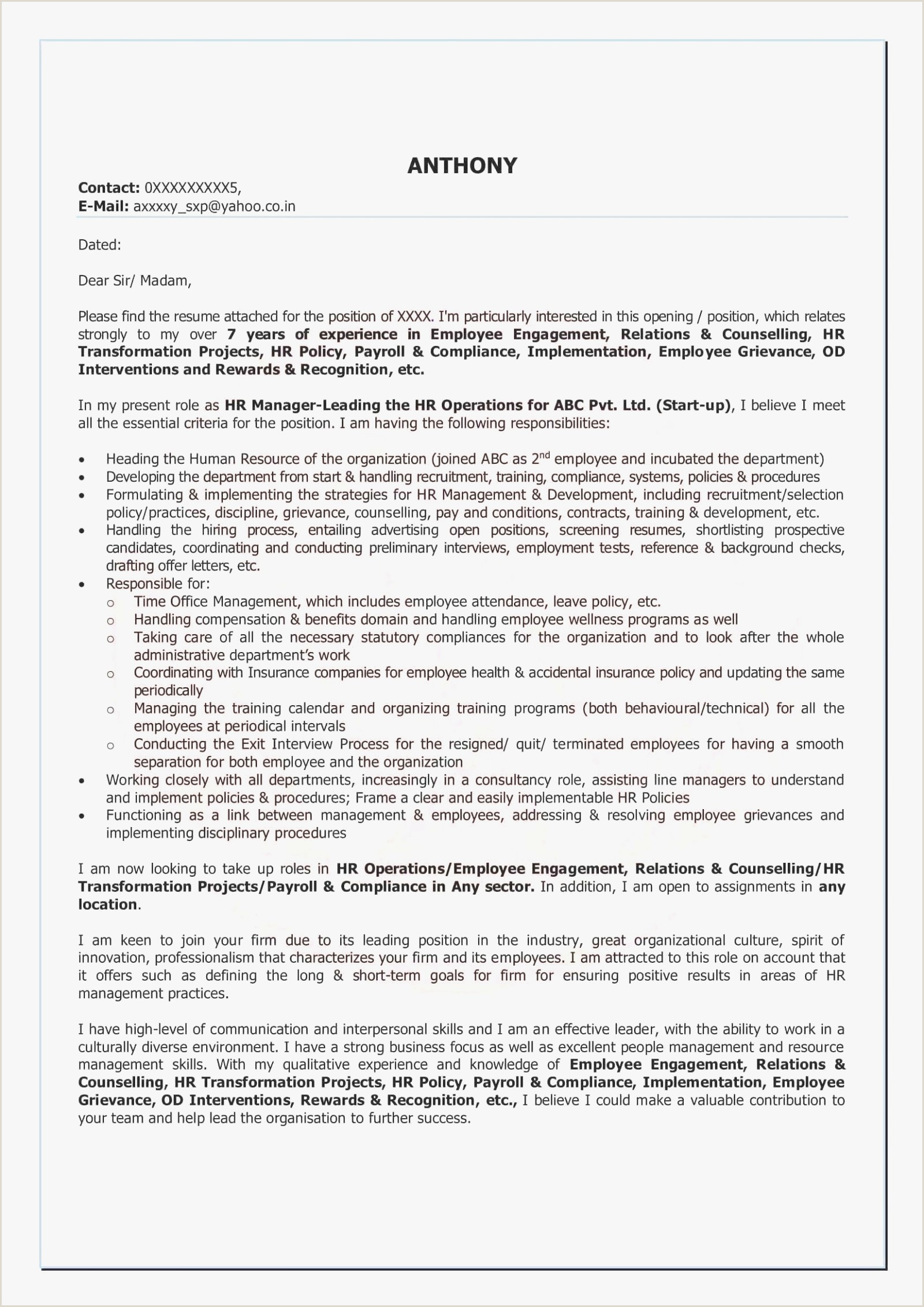 Example Cover Letter For Hospitality Position – My