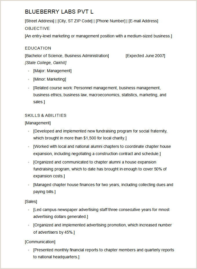 Hotel Management Student Resume Microsoft Word Resume Template 49 Free Samples Examples